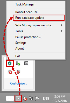 Updating the Kaspersky Total Security 19 databases via the toolbar