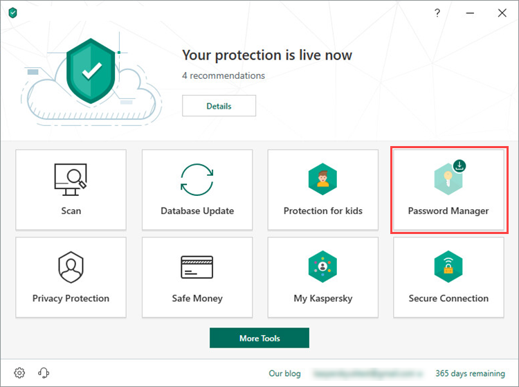 Opening Password Manager in Kaspersky Security Cloud 19