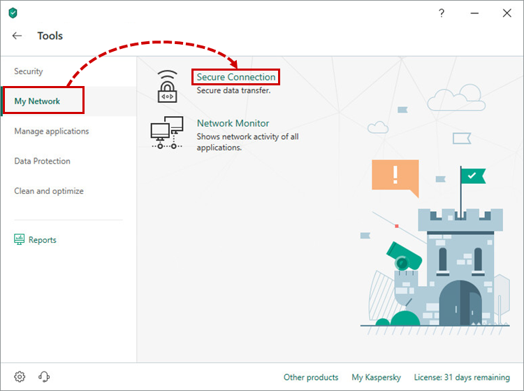 Opening Secure Connection in Kaspersky Total Security 19