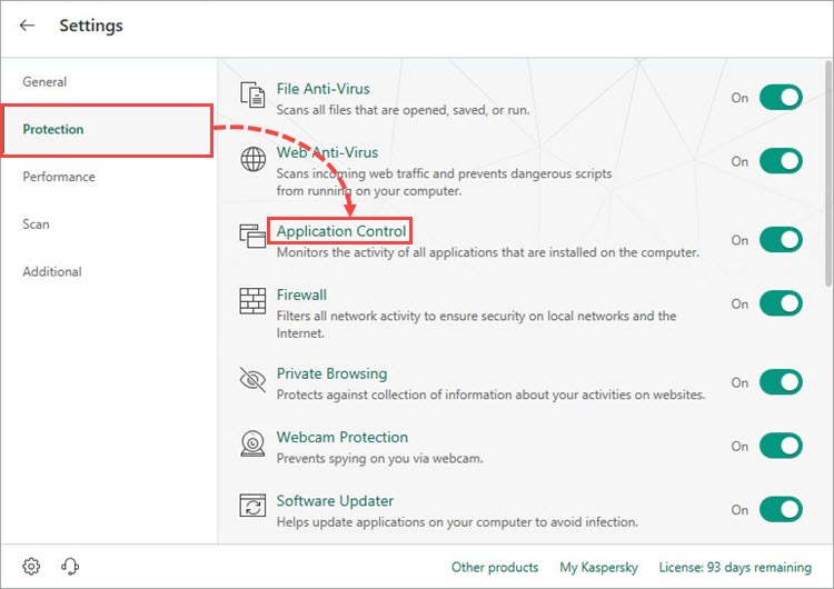 Opening the Application Control window in Kaspersky Total Security 19