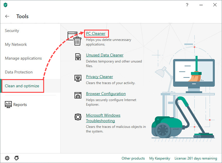 Opening the PC cleaner tool in Kaspersky Security Cloud 20