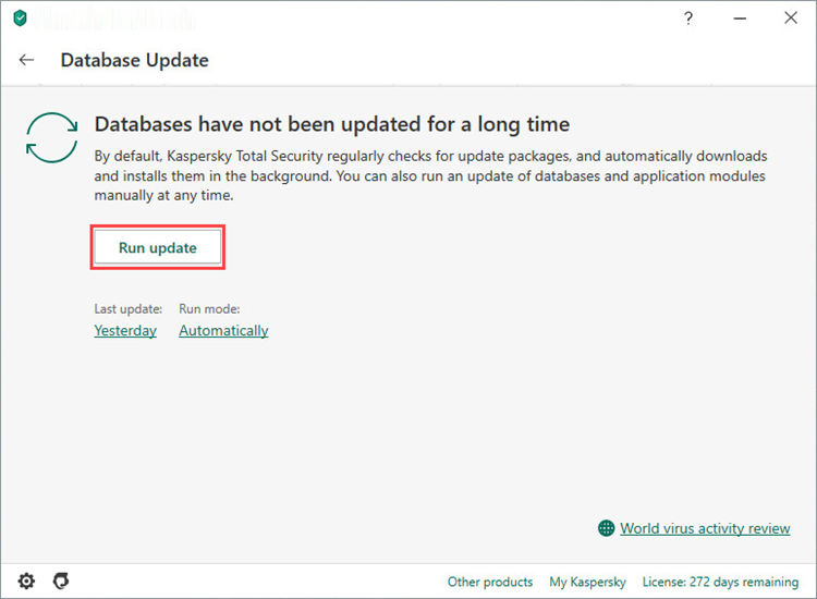 Updating the Kaspersky Internet Security 20 databases from the toolbar