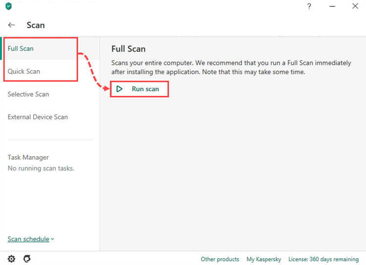 Starting a full or quick scan in Kaspersky Security Cloud 20