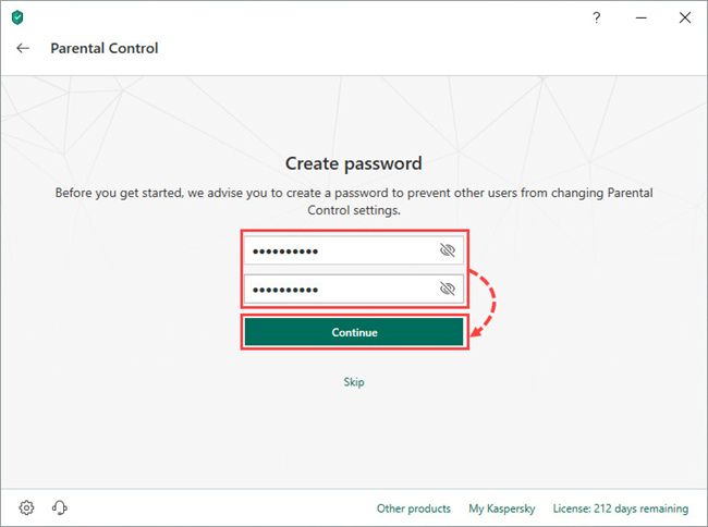 Creating a Parental Control password in Kaspersky Total Security 19