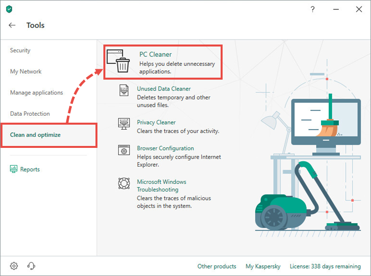 Opening PC Cleaner in Kaspersky Security Cloud 19