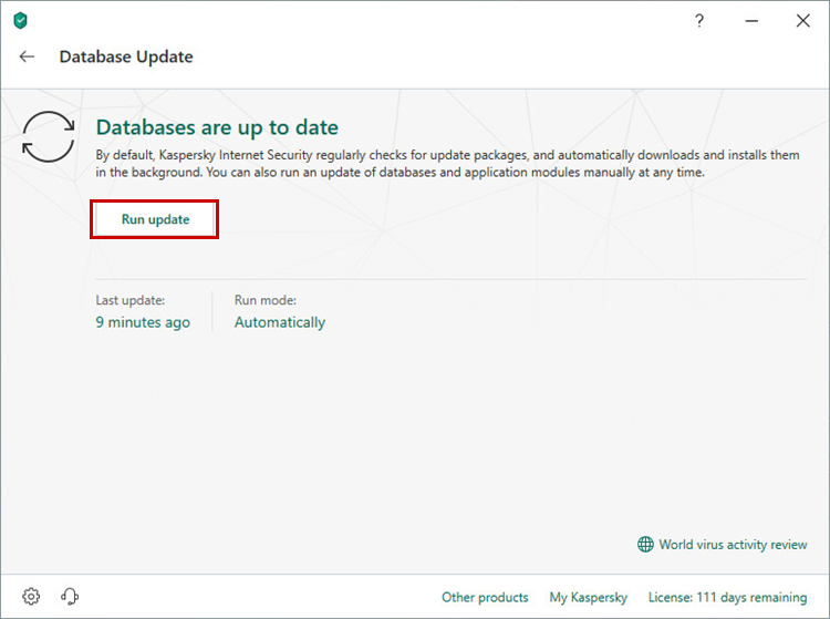 Updating the Kaspersky Total Security 19 databases via the application interface