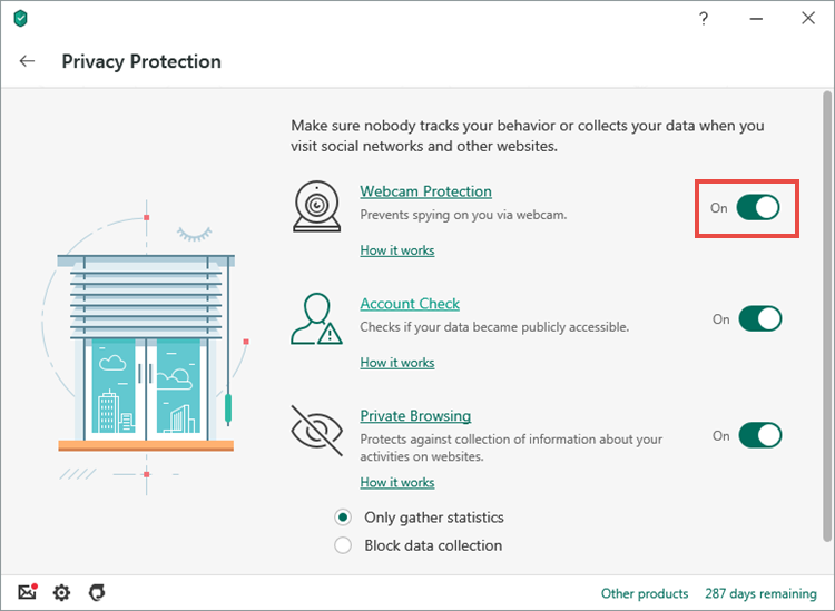 Enabling Webcam Protection in Kaspersky Security Cloud 20