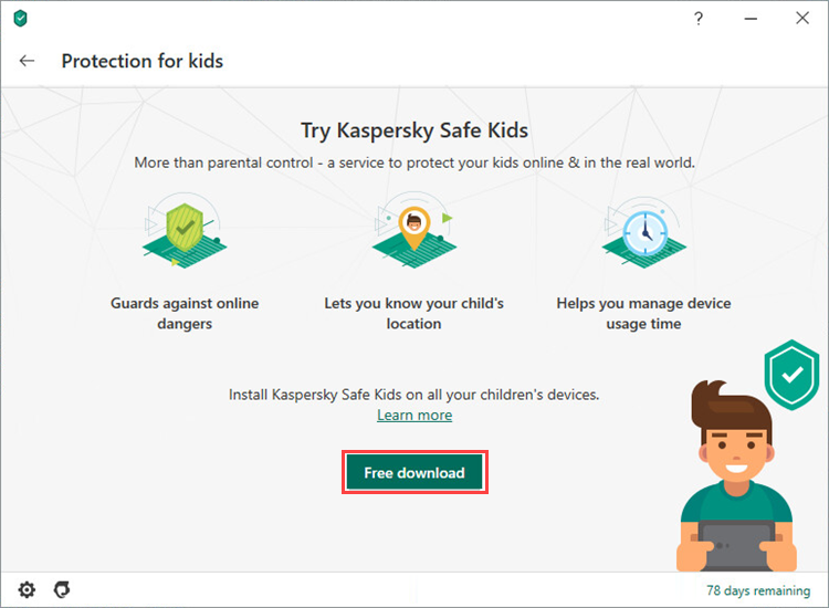 Downloading Kaspersky Safe Kids from the main window of Kaspersky Security Cloud 20