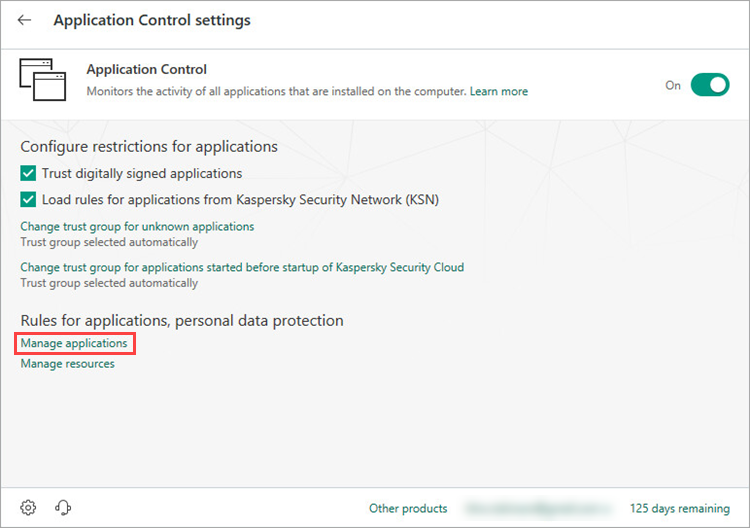 Opening the settings for groups of trusted applications