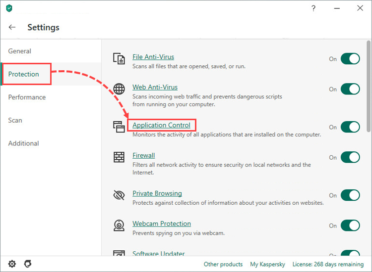 Opening the Application Control window in Kaspersky Total Security 20