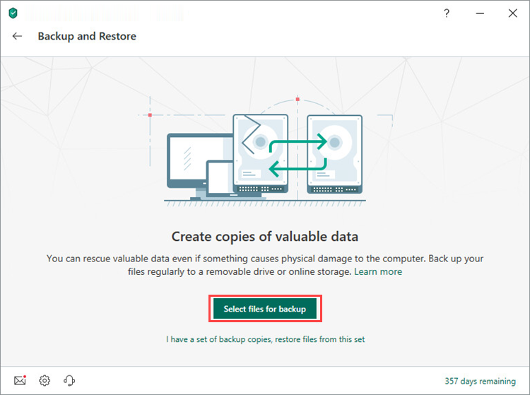 Opening the Select files for backup window in Kaspersky Security Cloud 19