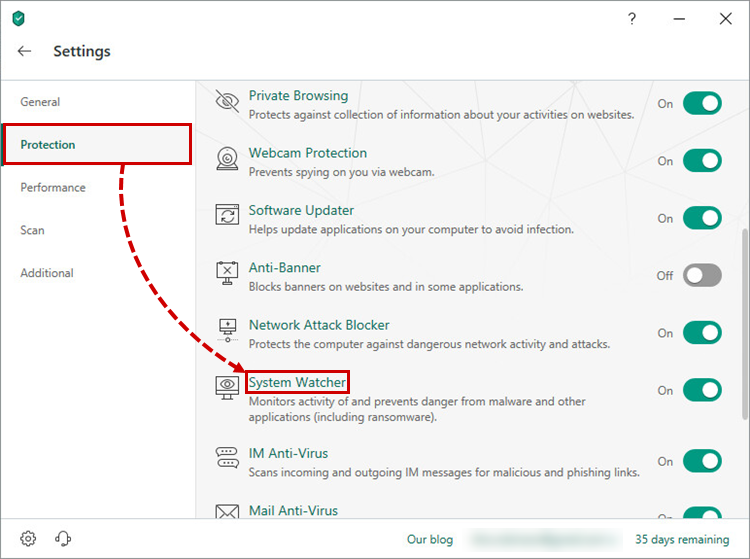 Opening the System Watcher window in Kaspersky Internet Security 19