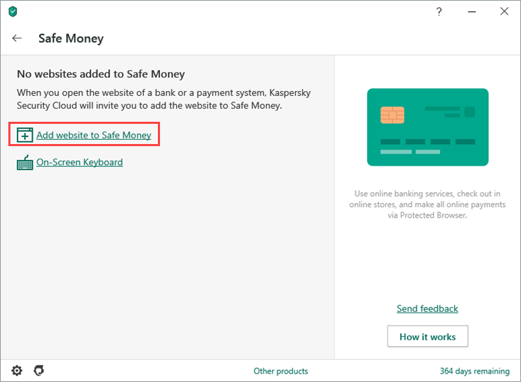 Adding a website to the Safe Money list in Kaspersky Security Cloud 20