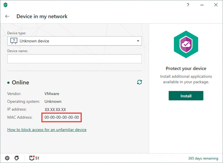 The Mac address of the connected device in Kaspersky Security Cloud 20 for Mac