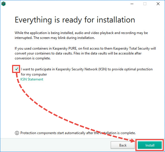 Agreeing to the End User License Agreement when installing Kaspersky Internet Security 19