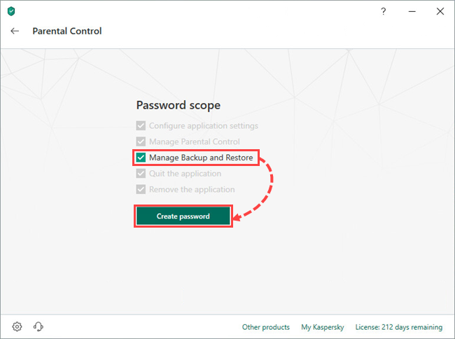 Selecting a password scope in Kaspersky Total Security 19
