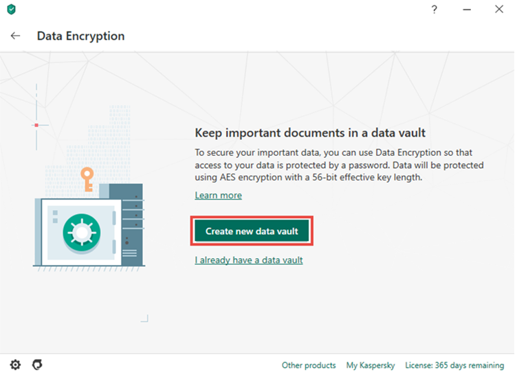Creating a vault in Kaspersky Total Security 20