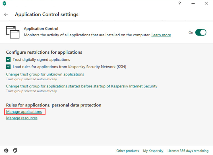 Opening the Manage applications window in Kaspersky Internet Security 20