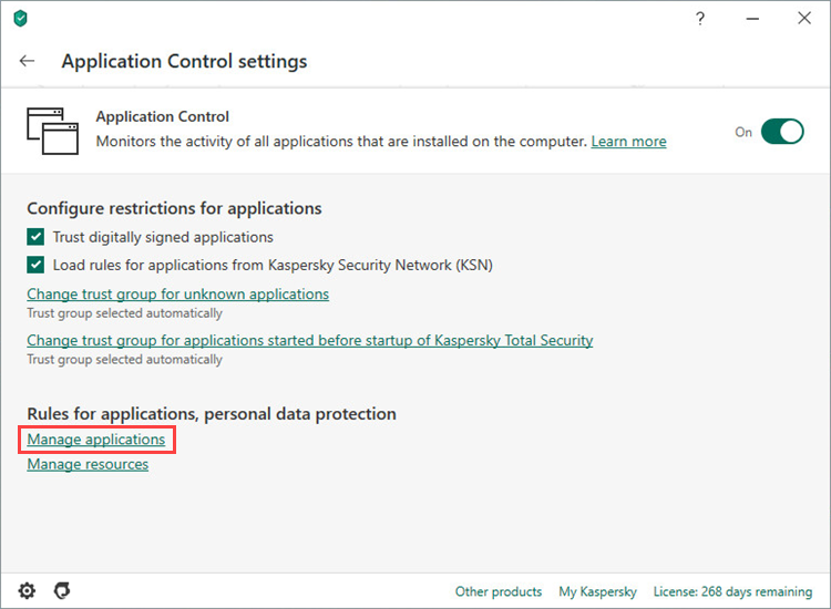 Opening the Manage applications window in Kaspersky Total Security 20
