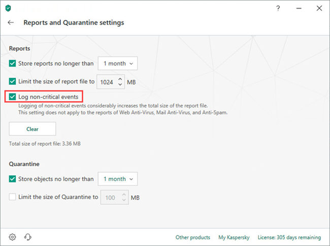 Configuring the logging of non-critical events in Kaspersky Security Cloud 19