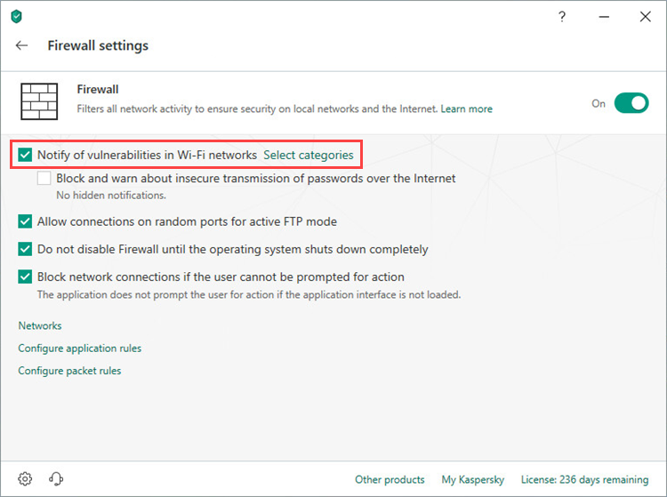 Enabling notifications about vulnerabilities in Wi-Fi networks in Kaspersky Internet Security 19