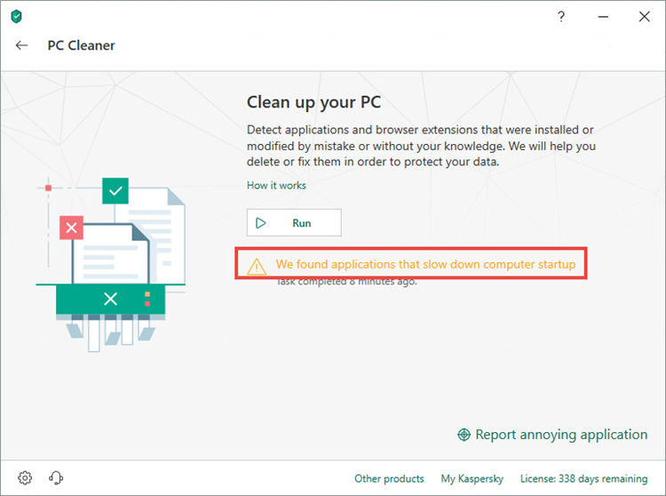 Viewing applications detected by PC Cleaner in Kaspersky Security Cloud 19