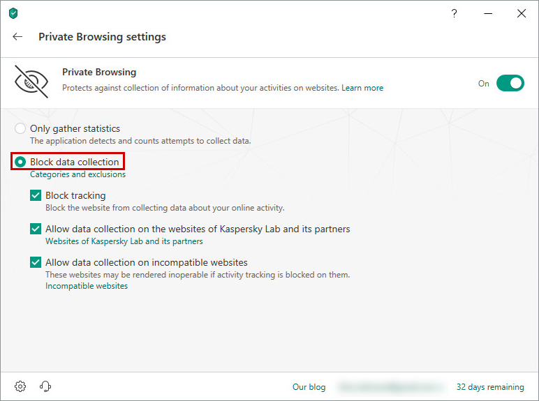 Private Browsing component in Kaspersky Total Security 19