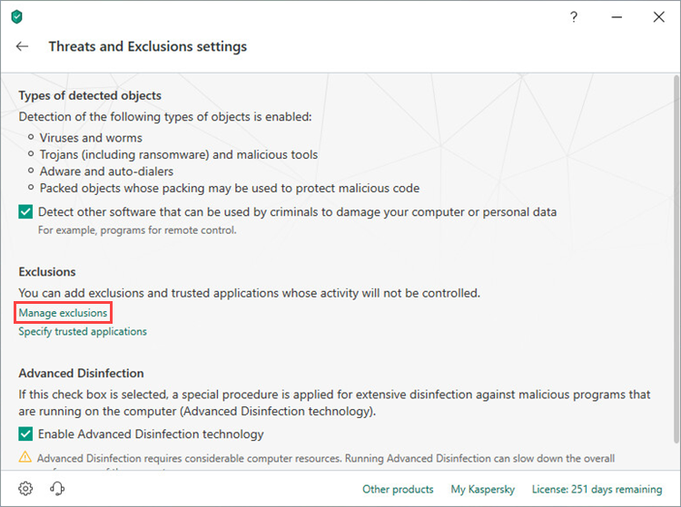 Opening the Exclusions settings window of Kaspersky Security Cloud 19