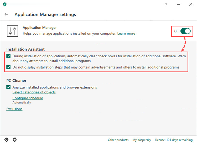 Enabling and configuring Application manager in Kaspersky Internet Security 20