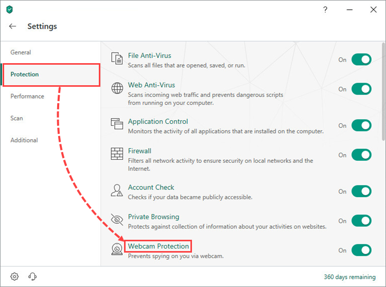 Opening the Webcam Protection section in Kaspersky Internet Security 19