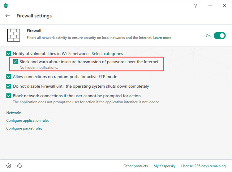 Blocking the insecure transmission of passwords in Kaspersky Internet Security 19