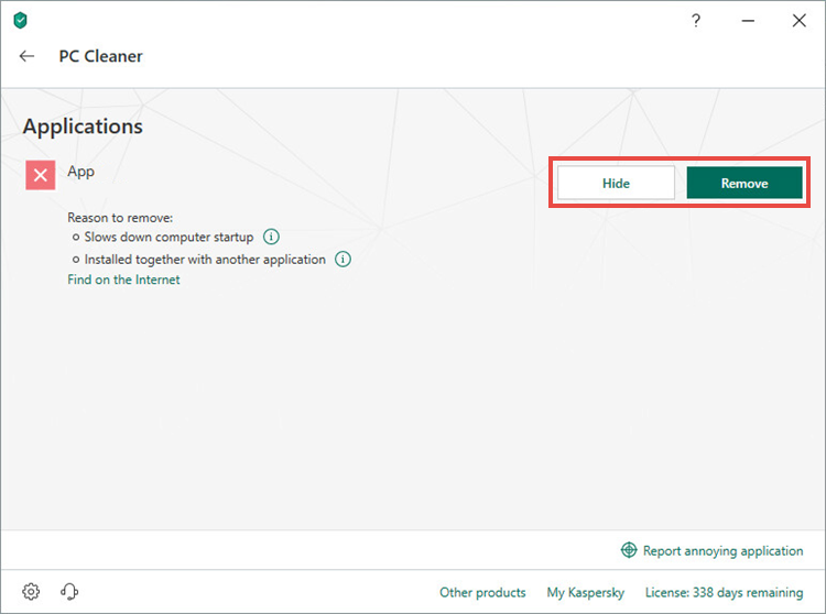 Cleaning up the PC using Kaspersky Security Cloud 19