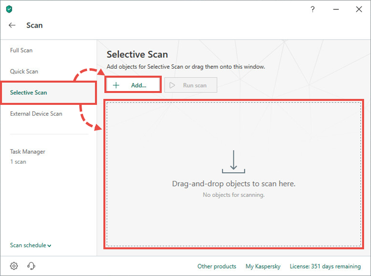 Adding files for a selective scan in Kaspersky Security Cloud 19