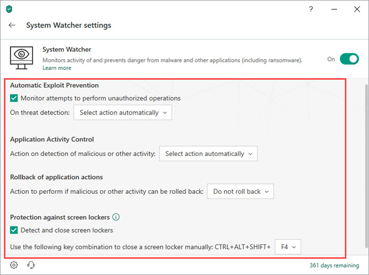 Adjusting System Watcher settings in Kaspersky Internet Security 19