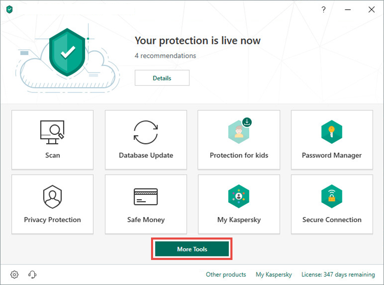 Opening the Tools window of Kaspersky Security Cloud 19