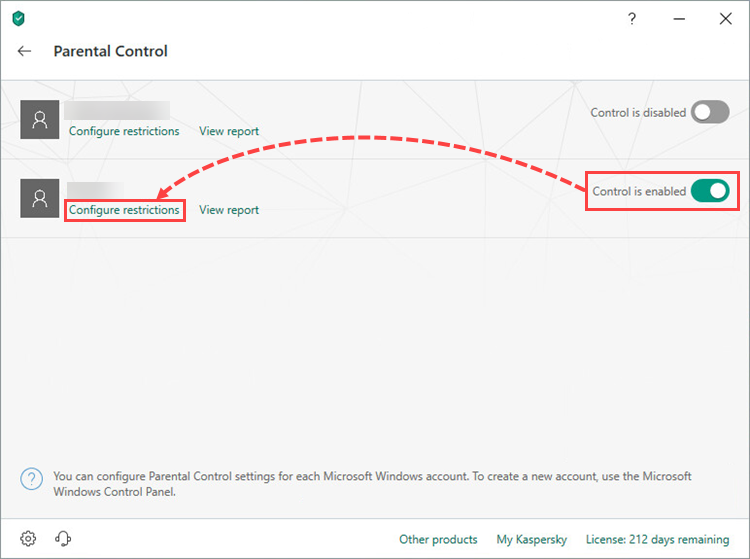 Opening restrictions settings for a user account in Kaspersky Total Security 19