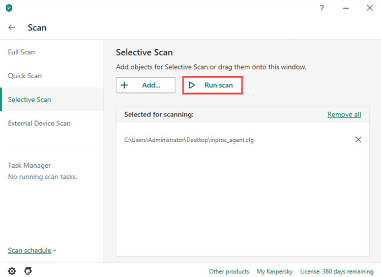Running a selective scan in Kaspersky Security Cloud 20
