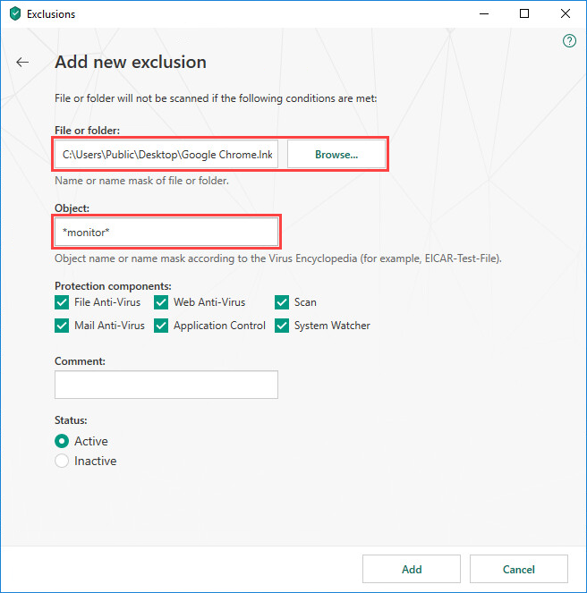 Excluding a file, folder or object from scanning in Kaspersky Security Cloud 19