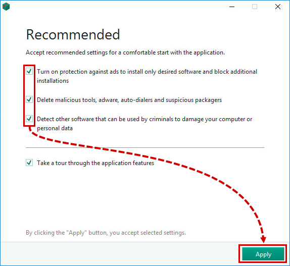 Configuring recommended protection settings when installing Kaspersky Internet Security 19