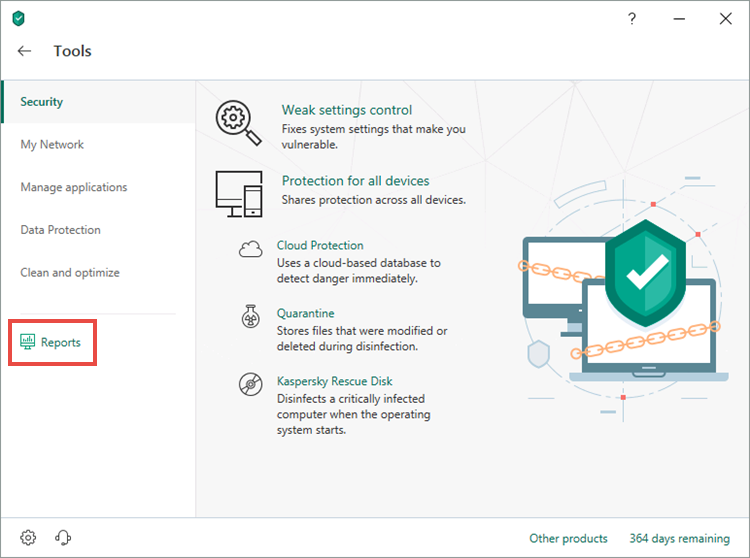 Opening the Reports window of Kaspersky Security Cloud 19