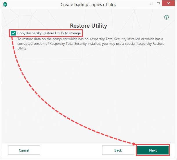 Copying the Kaspersky Restore Utility in Kaspersky Security Cloud 19