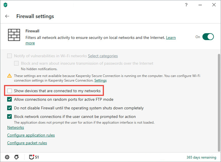 Display options for devices in the wireless network in Kaspersky Security Cloud 20 for Mac