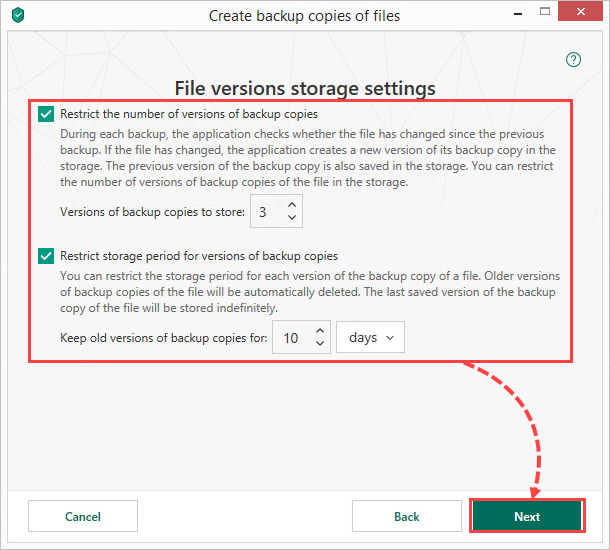 Configuring storage settings in Kaspersky Total Security 19