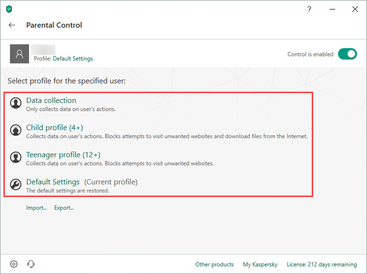 Selecting a Parental Control protection level in Kaspersky Total Security 19