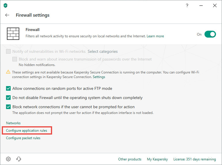 Opening application rules settings window of Kaspersky Total Security 19