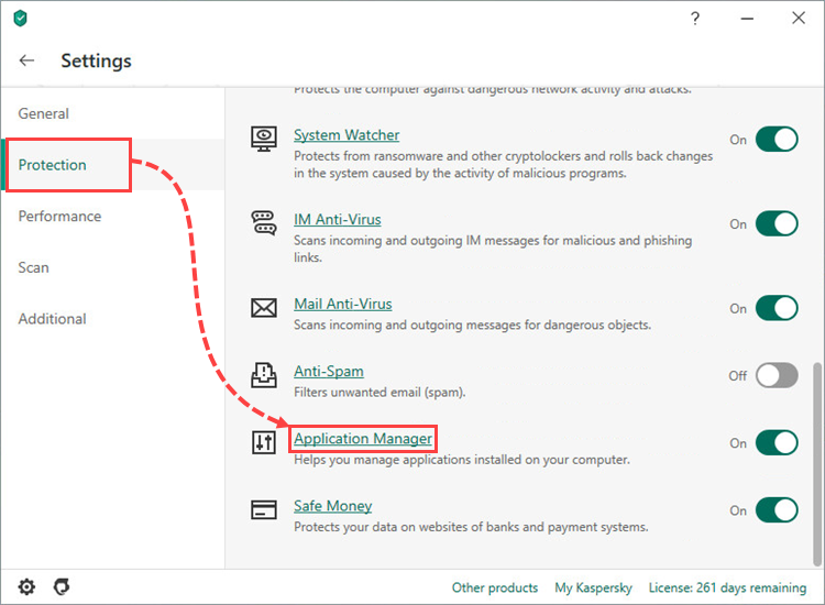 Opening the Application manager settings in Kaspersky Security Cloud 20