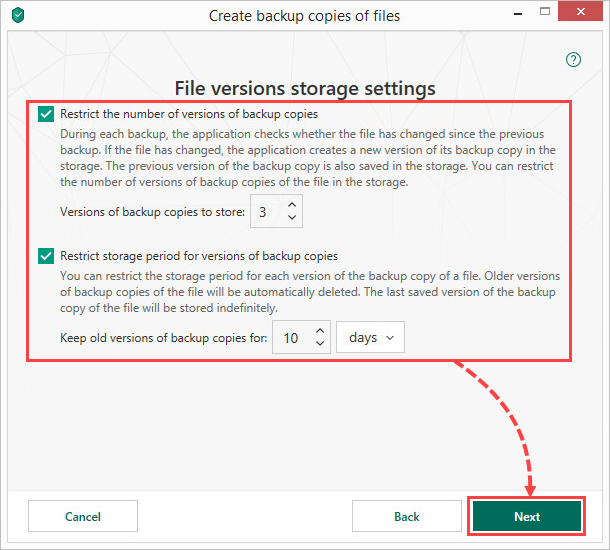Configuring storage settings in Kaspersky Security Cloud 19
