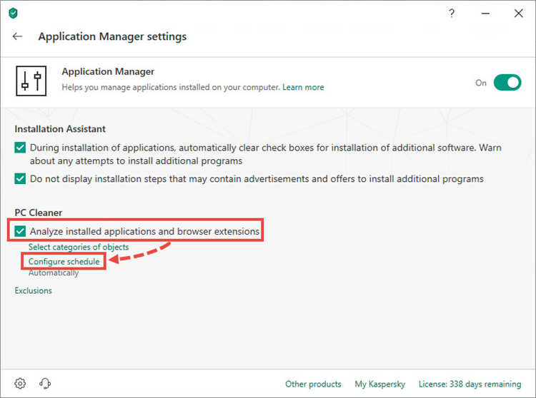 Configuring the PC Cleaner schedule in Kaspersky Security Cloud 19