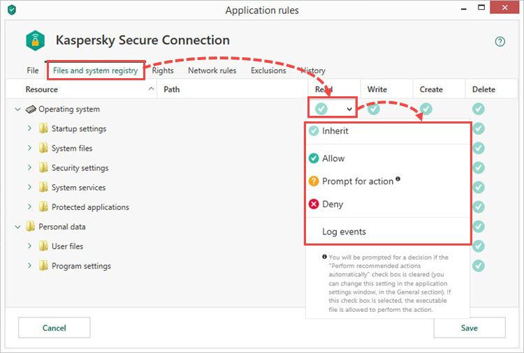 Configuring rules for files and the system registry in Kaspersky Total Security 19