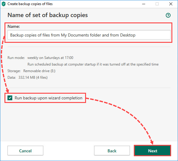 Running a backup task in Kaspersky Security Cloud 20